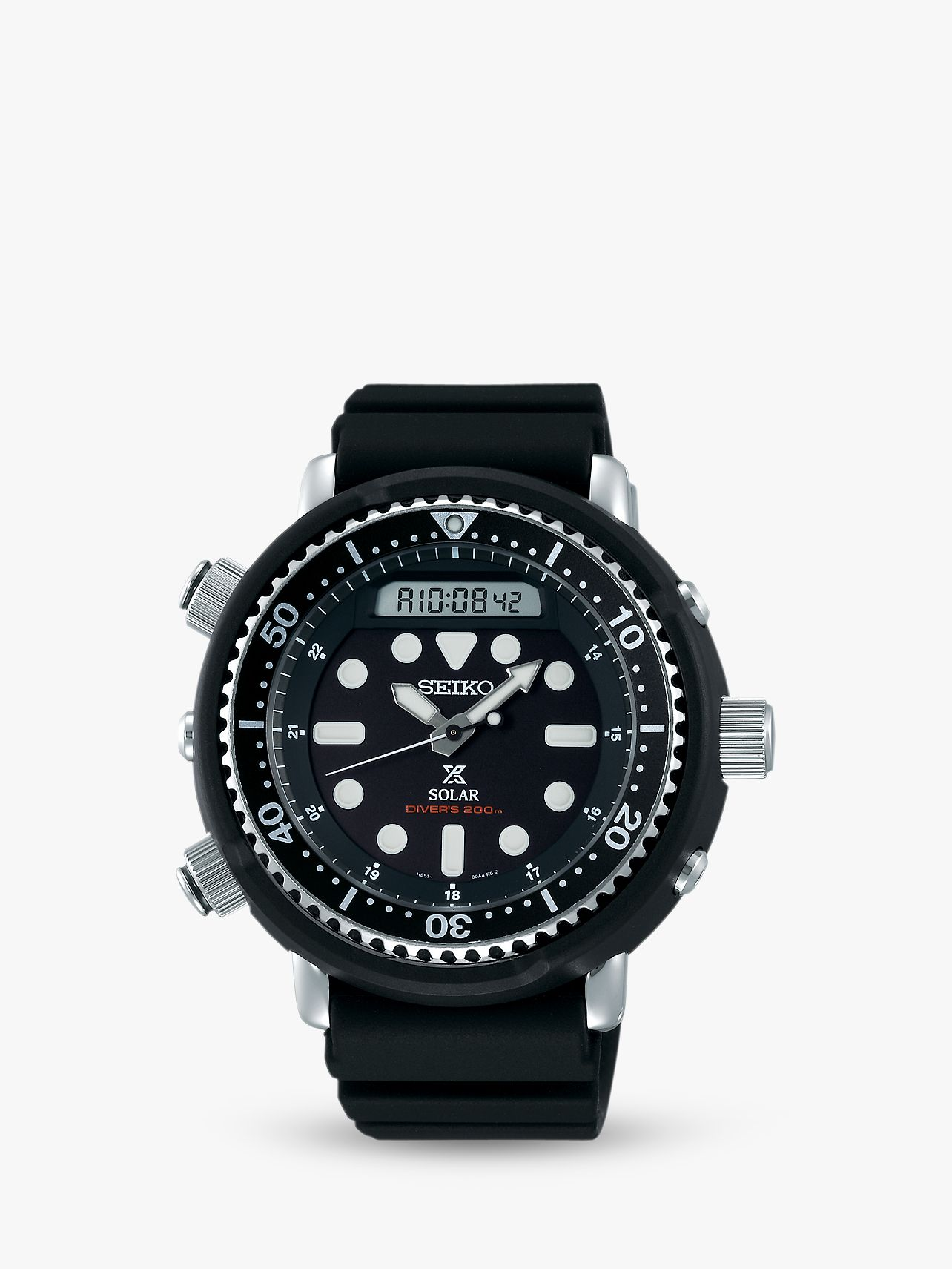 Seiko Seiko SNJ025P1 Men's Prospex Arnie Solar Date Silicone Strap Watch, Black