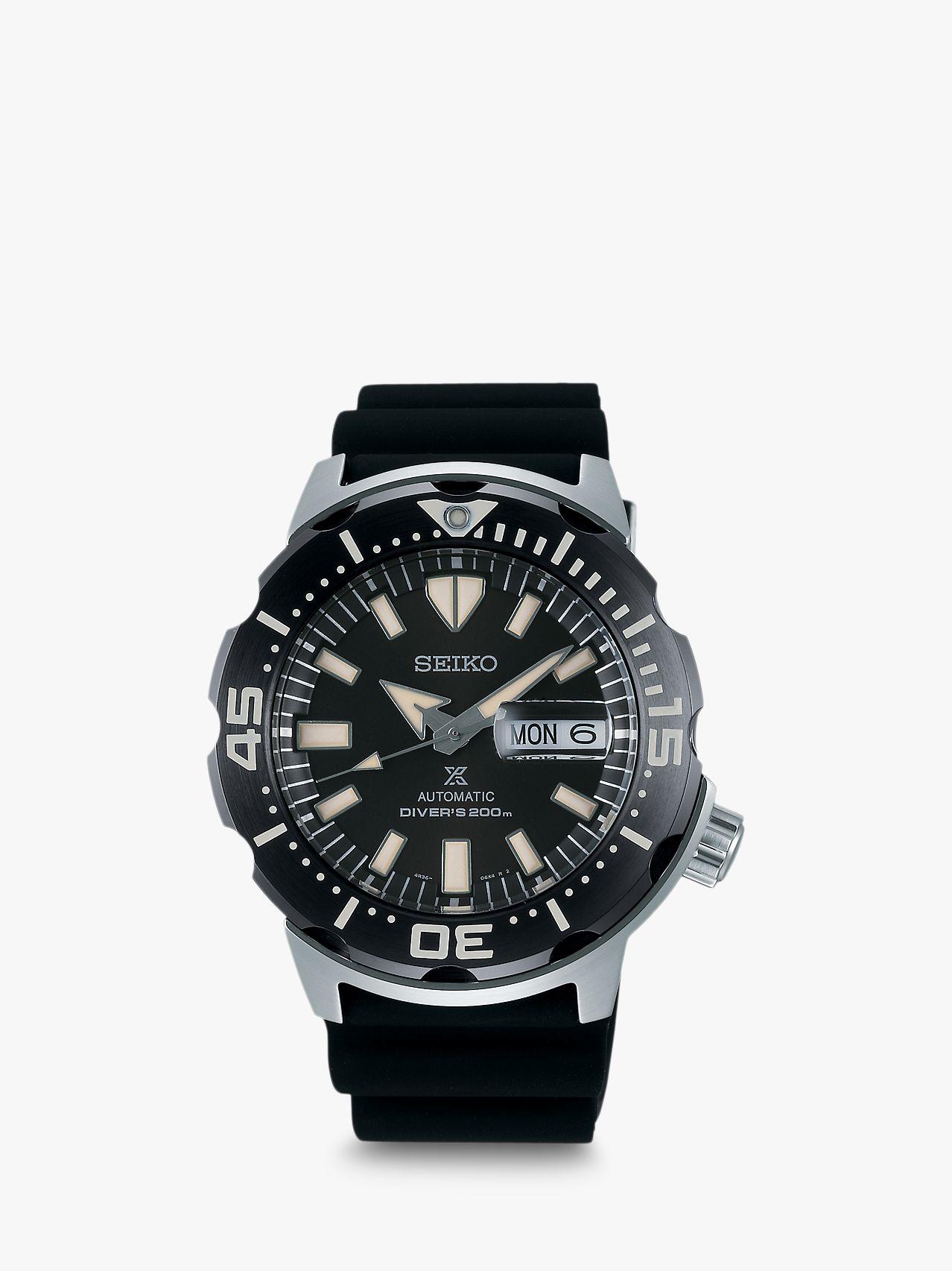 Seiko Seiko SRPD27K1 Men's Prospex Monster Divers Automatic Day Date Silicone Strap Watch, Black