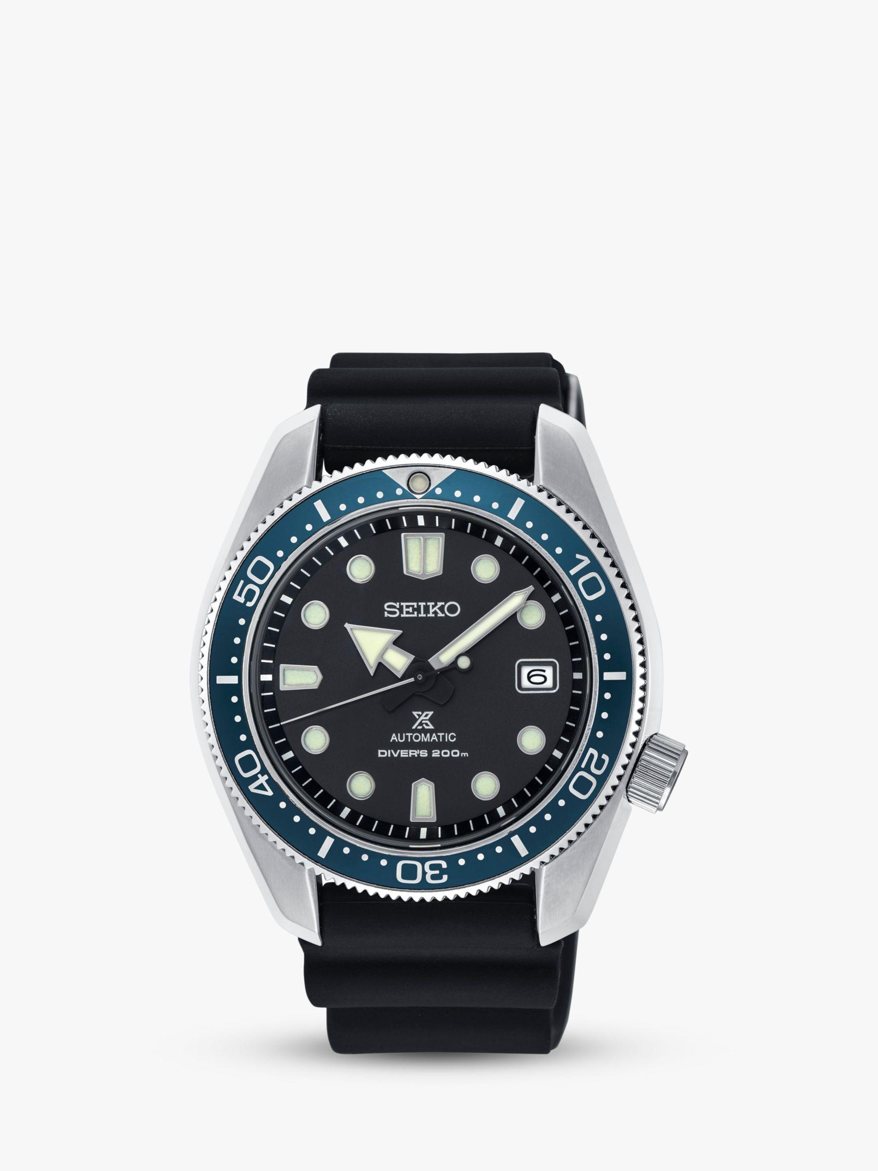 Seiko Seiko SPB079J1 Men's Prospex Divers Automatic Date Silicone Strap Watch, Black