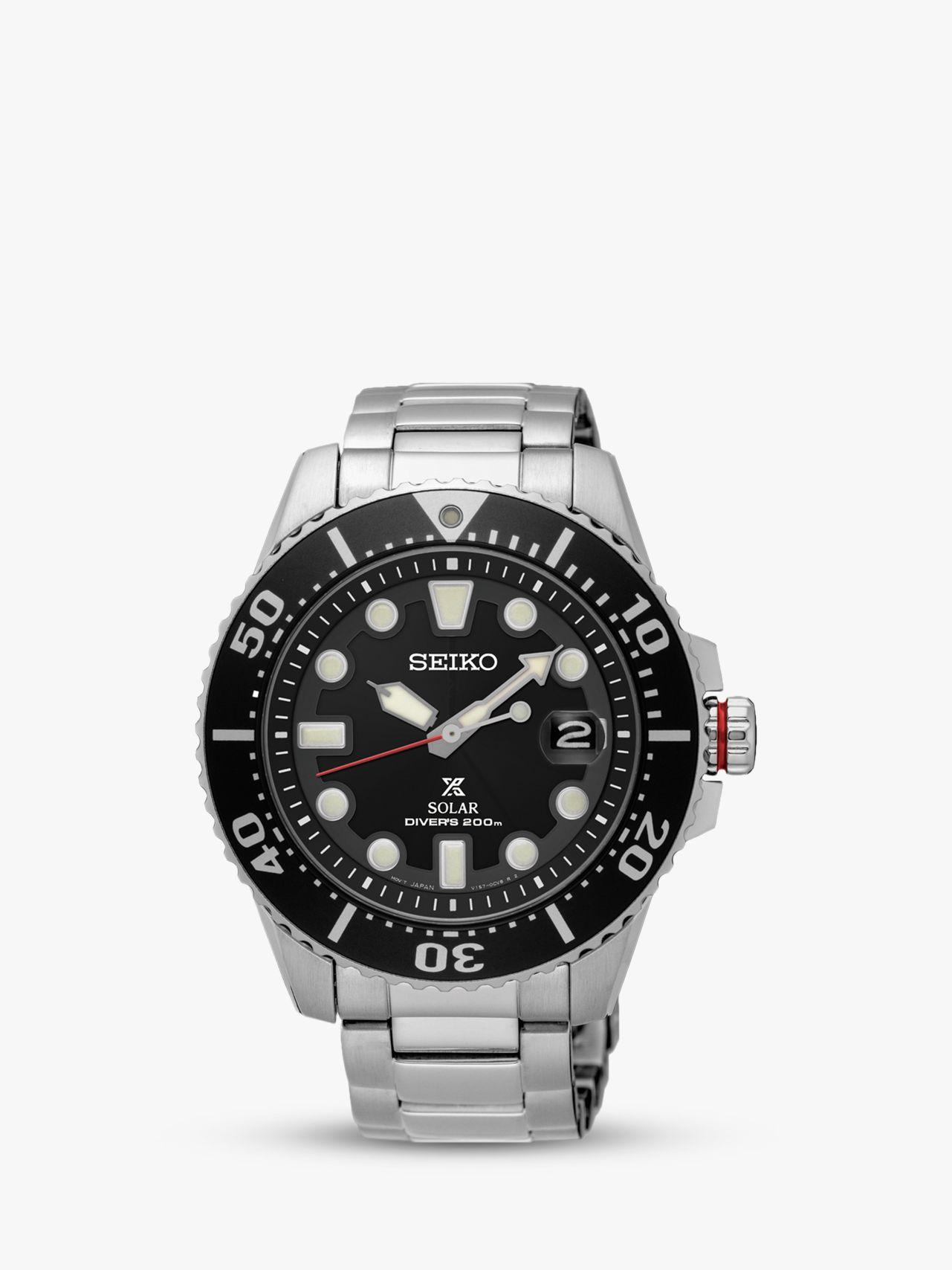 Seiko Seiko SNE437P1 Men's Prospex Divers Solar Date Bracelet Strap Watch, Silver/Black