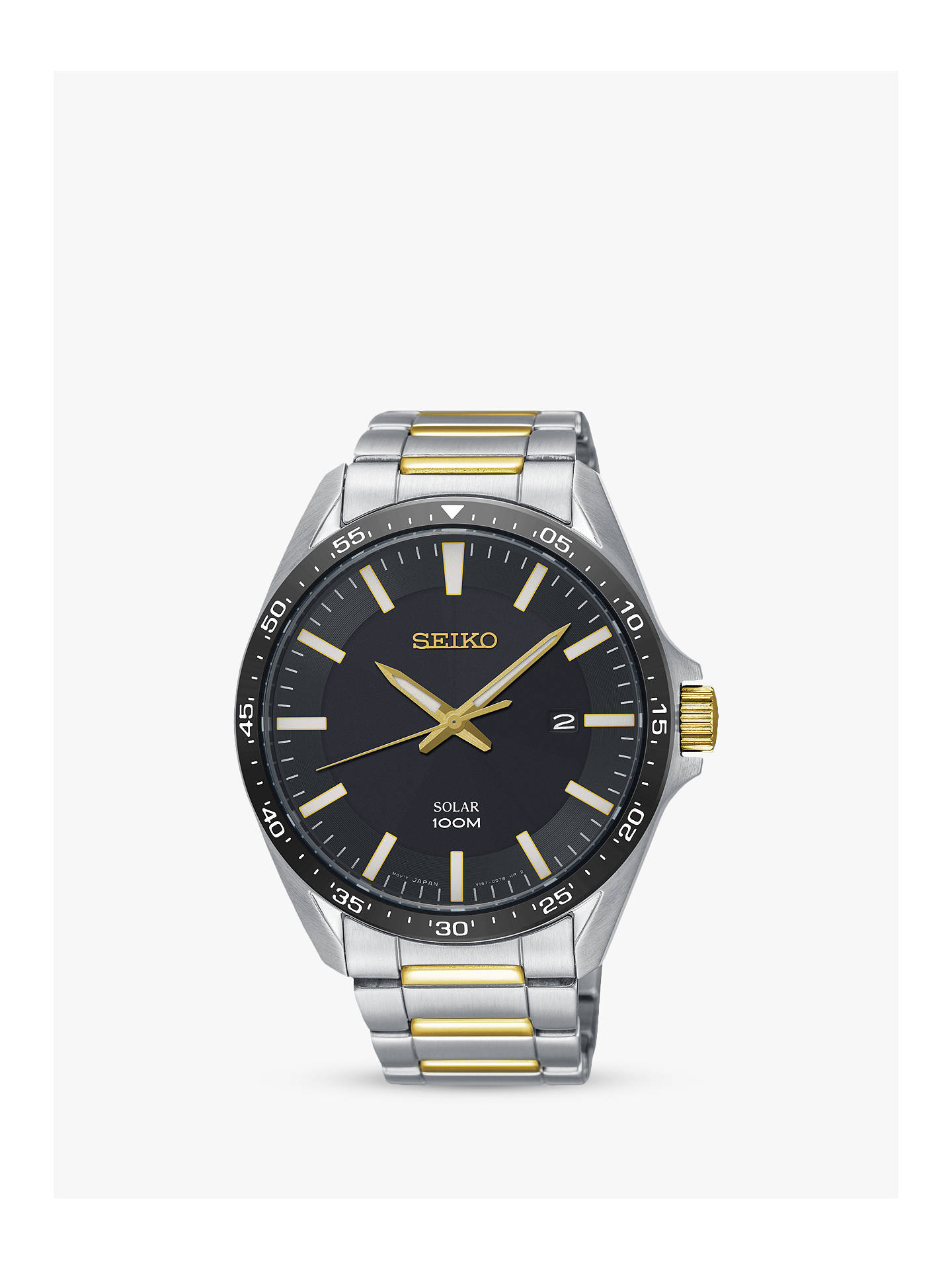 bas prix cdbb9 5d8ff Seiko SNE485P1 Men's Solar Date Bracelet Strap Watch, Silver/Gold