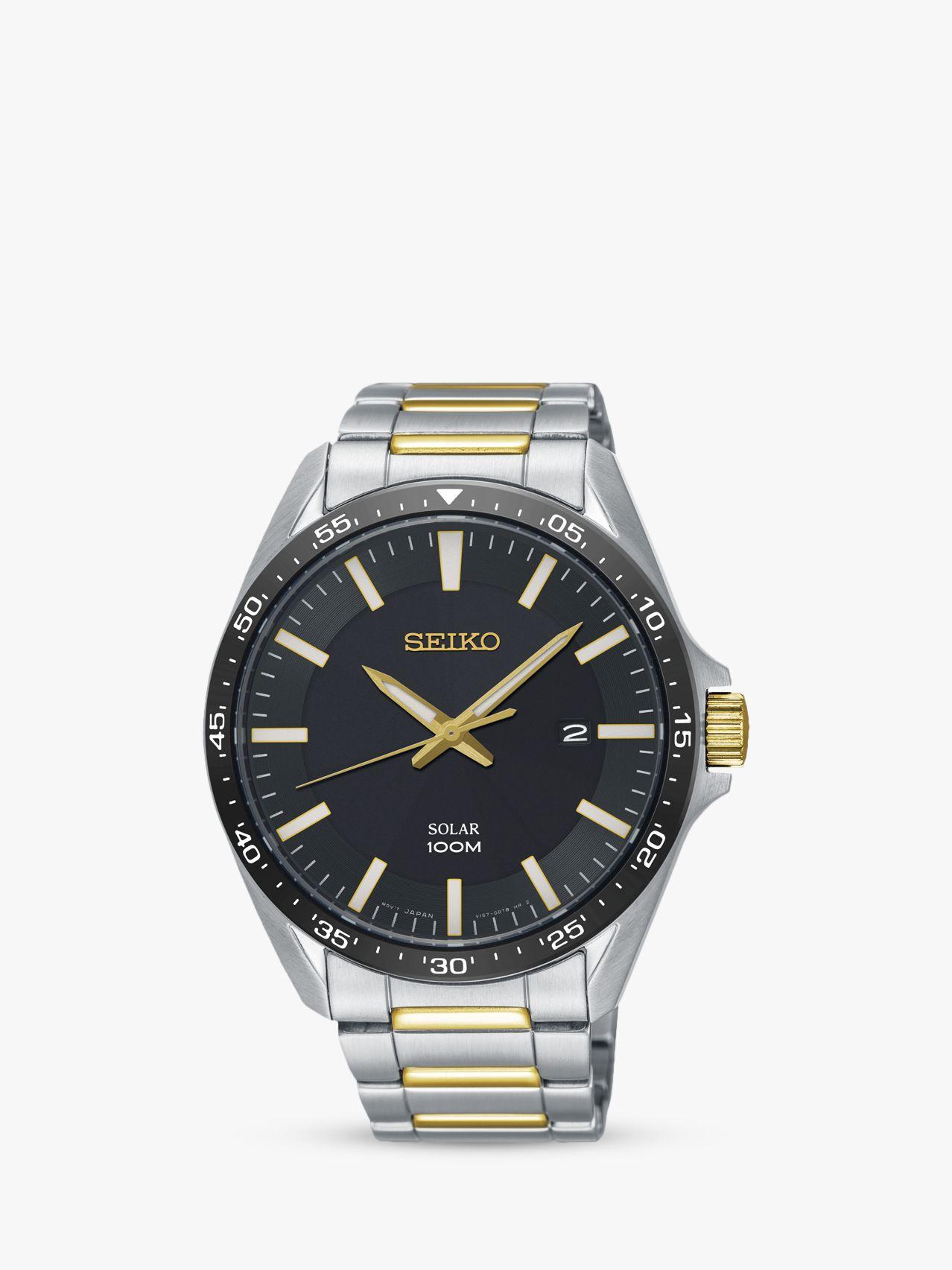 Seiko Seiko SNE485P1 Men's Solar Date Bracelet Strap Watch, Silver/Gold