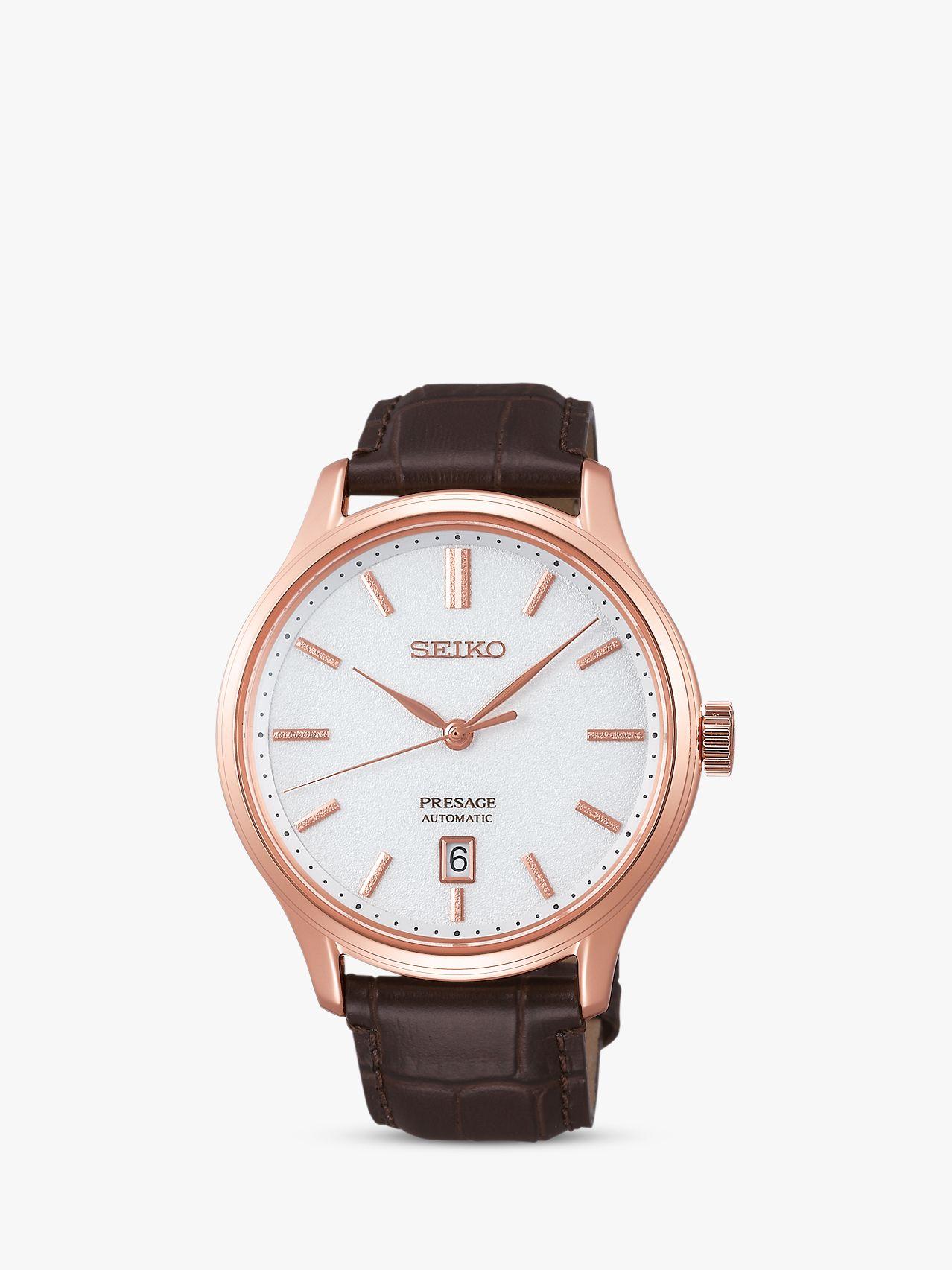 Seiko Seiko SRPD42J1 Men's Presage Automatic Date Leather Strap Watch, Brown/White