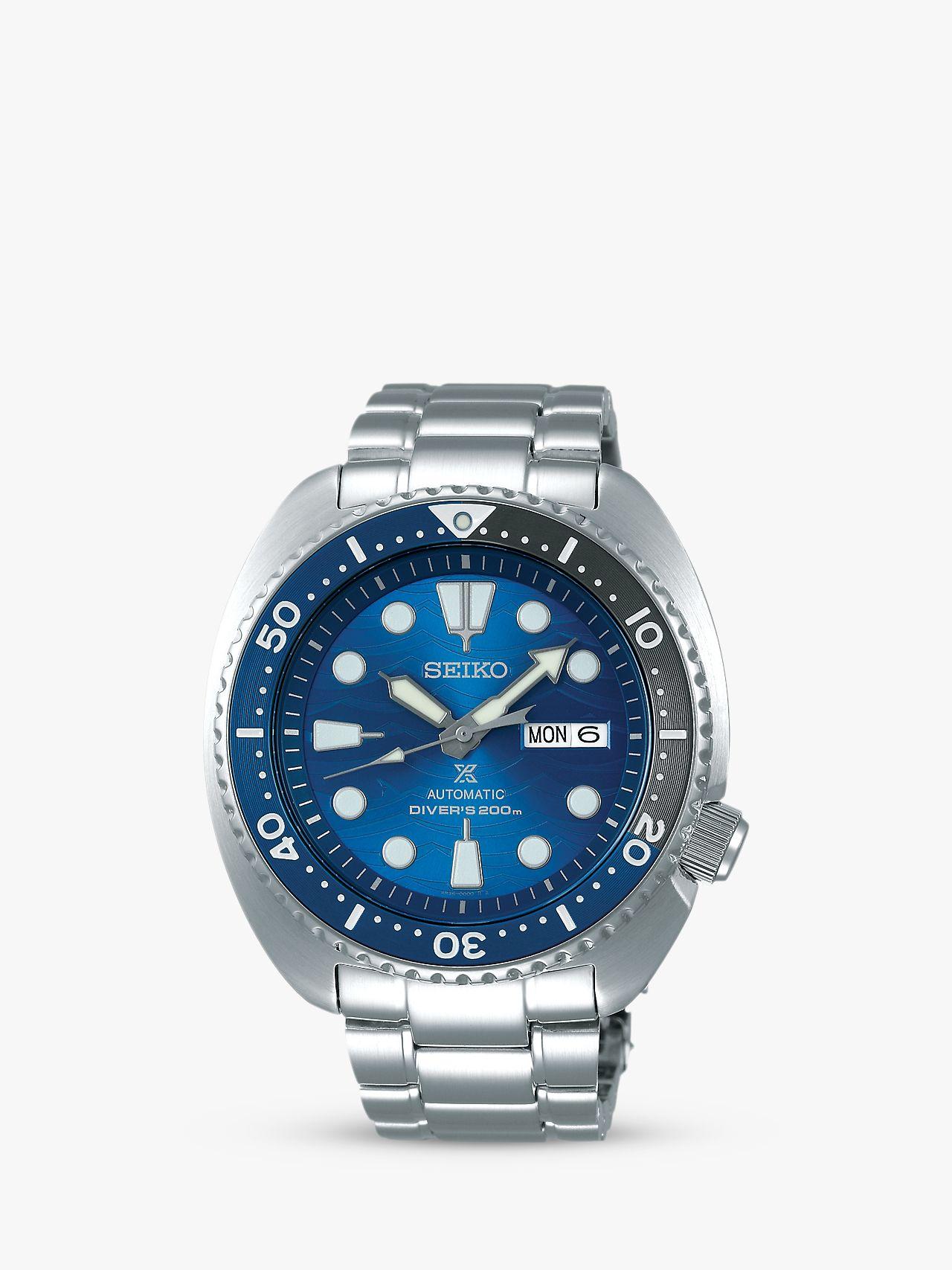 Seiko Seiko SRPD21K1 Men's Prospex Divers Automatic Day Date Bracelet Strap Watch, Silver/Blue