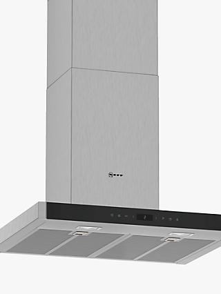 Neff D65BMP5N0B Wall-Mounted Box Chimney Cooker Hood, 60cm, Grey/Stainless Steel