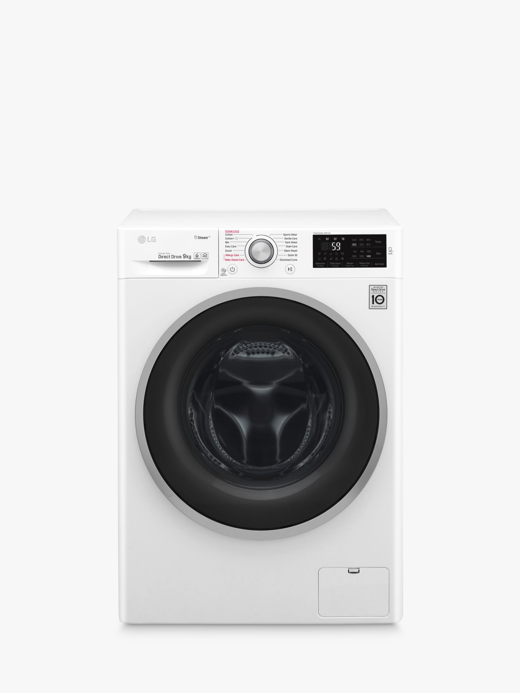 LG LG F4J609WS Freestanding Washing Machine, 9kg Load, A+++ Energy Rating, 1400rpm Spin, White
