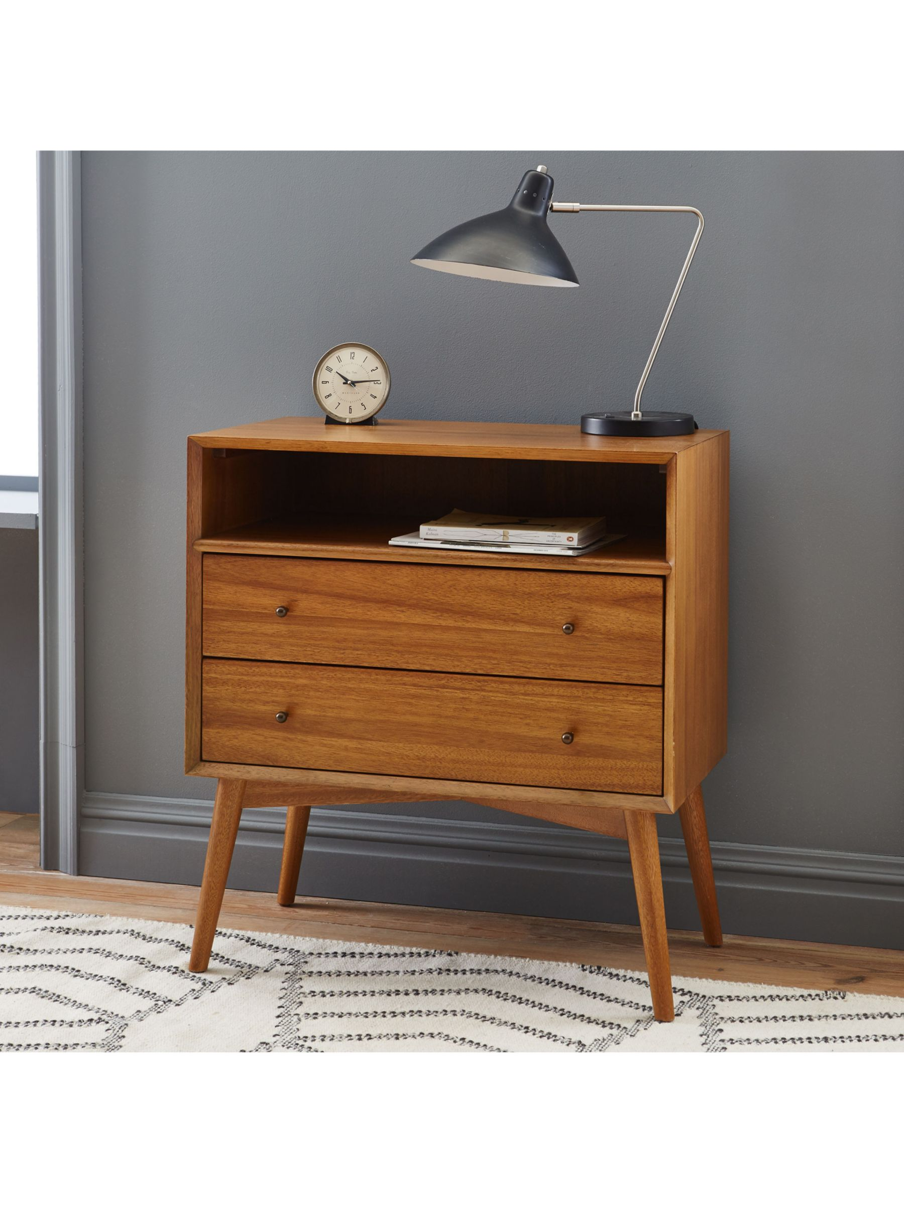 Picture of: West Elm Mid Century Wide Bedside Table Acorn Fsc Certified Acacia At John Lewis Partners
