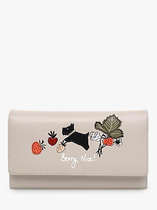 Radley Berry Nice Large Leather Flapover Matinee Purse, Dove Grey
