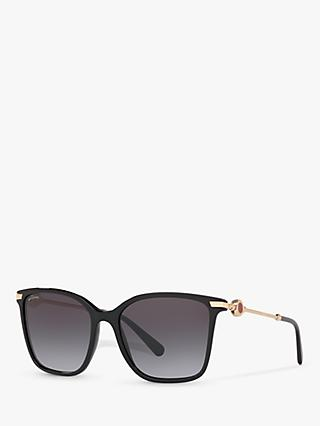 BVLGARI BV8222 Women's Square Sunglasses, Black/Grey