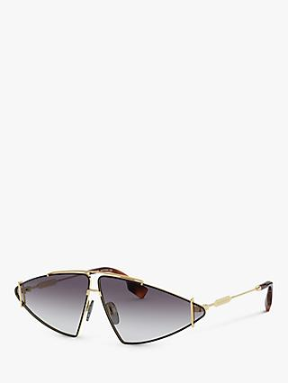 Burberry BE3111 Women's Triangular Sunglasses, Gold/Grey Gradient