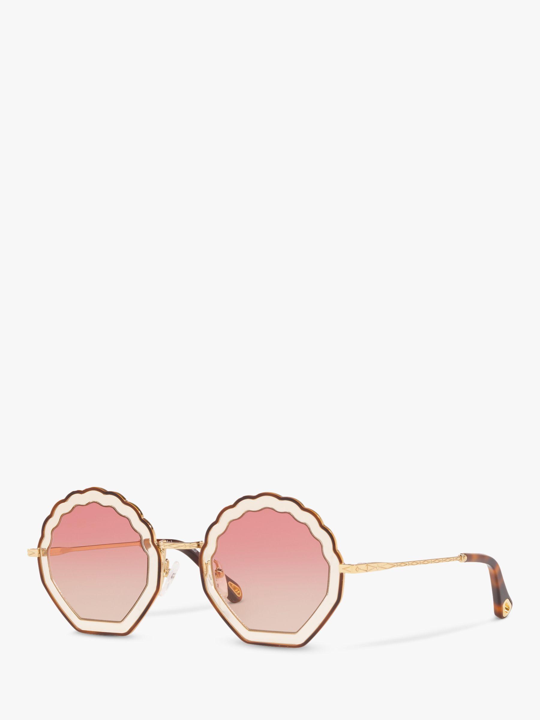 Chloe Chloé CE147S Women's Rectangular Scallop Sunglasses, Brown Tortoiseshell/Gold