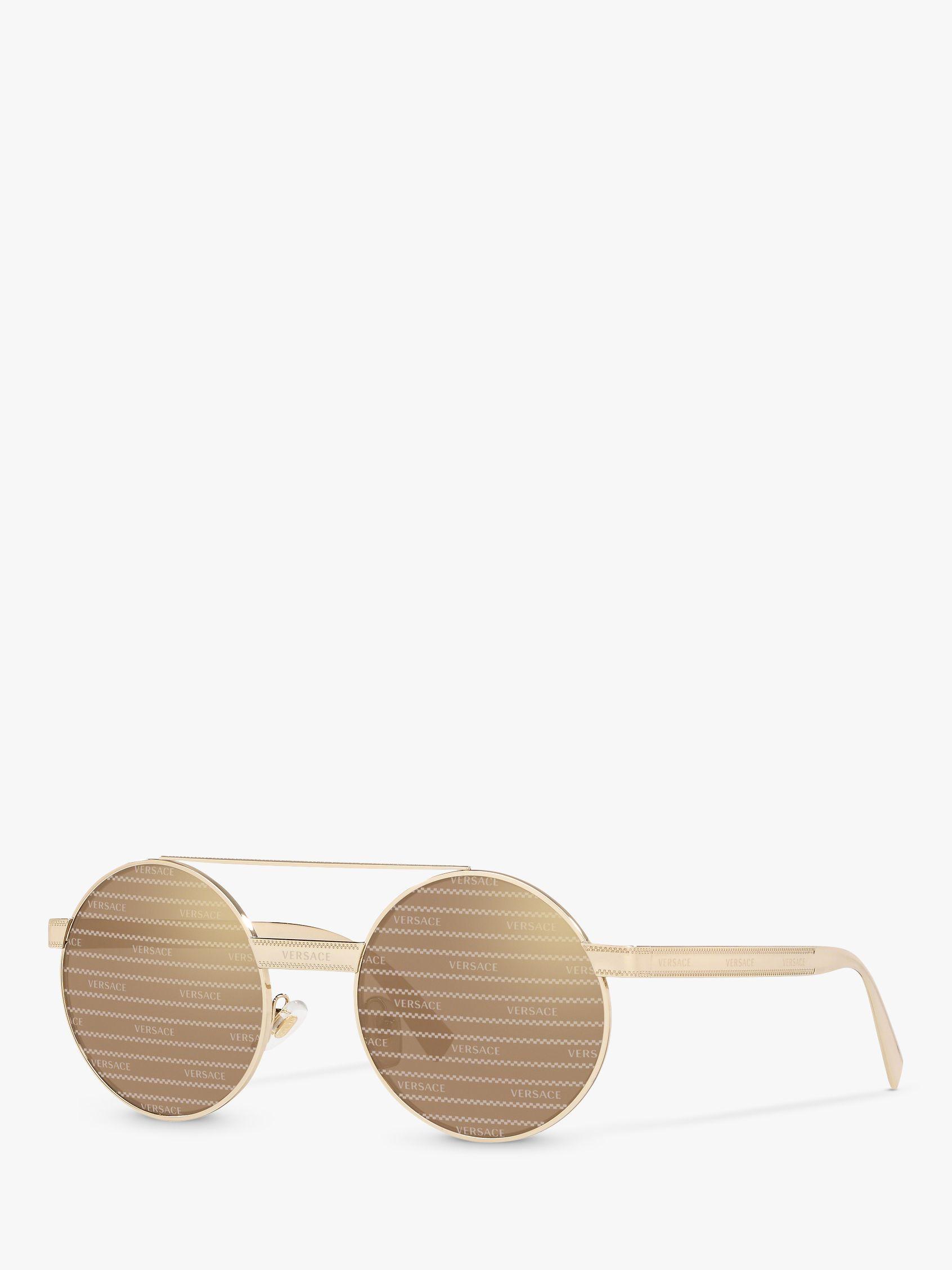 Versace Versace VE2210 Women's Round Sunglasses, Gold/Brown