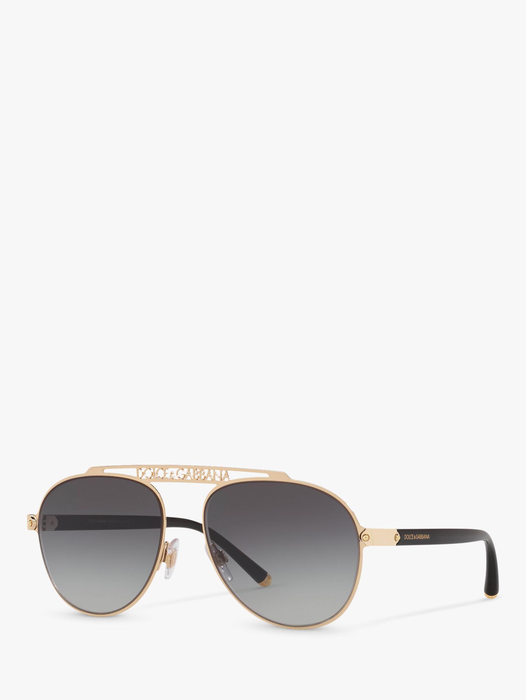 Dolce & Gabbana Dolce & Gabbana DG2235 Women's Aviator Sunglasses, Gold/Grey Gradient