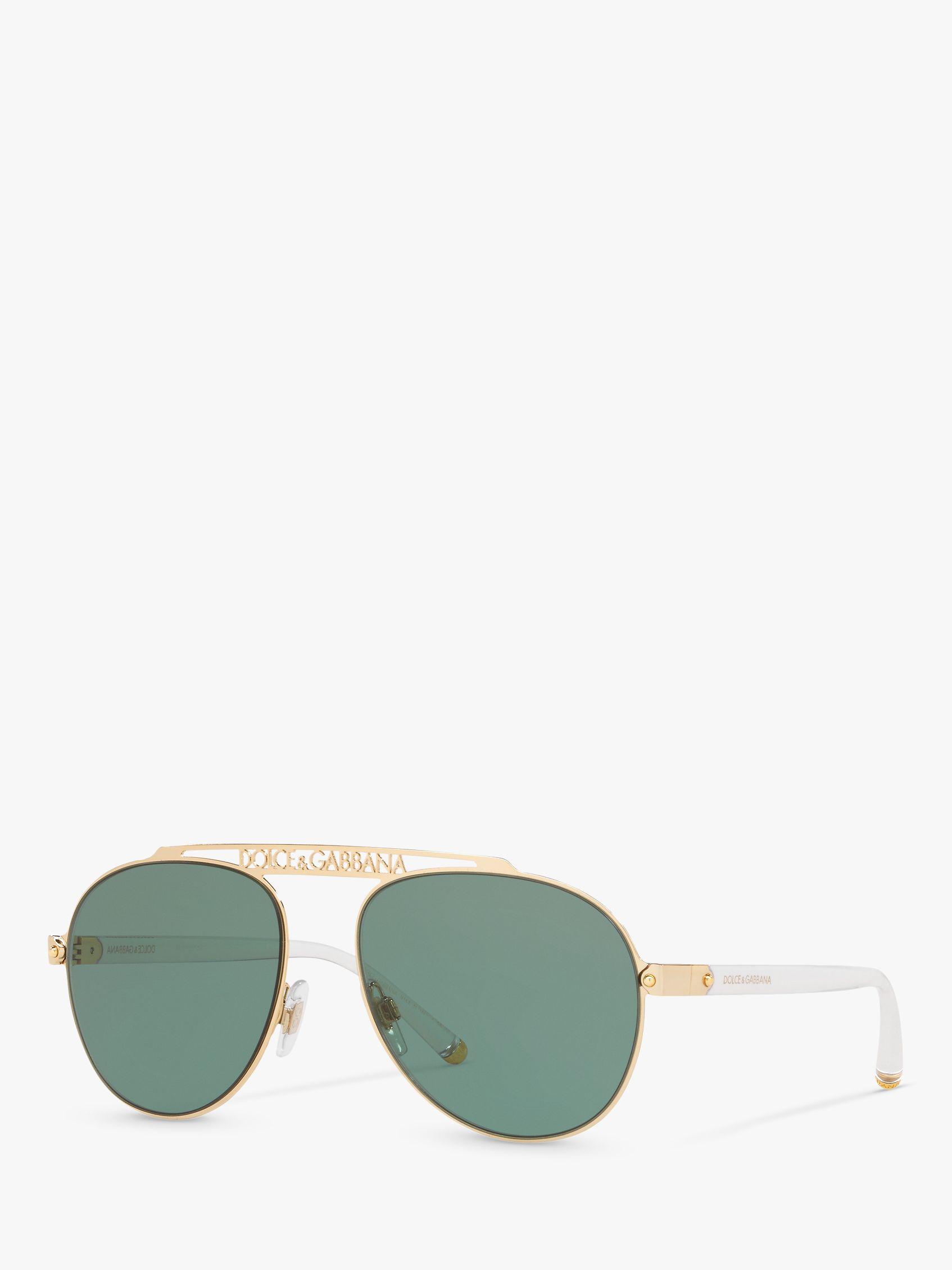Dolce & Gabbana Dolce & Gabbana DG2235 Women's Aviator Sunglasses, Gold/Green