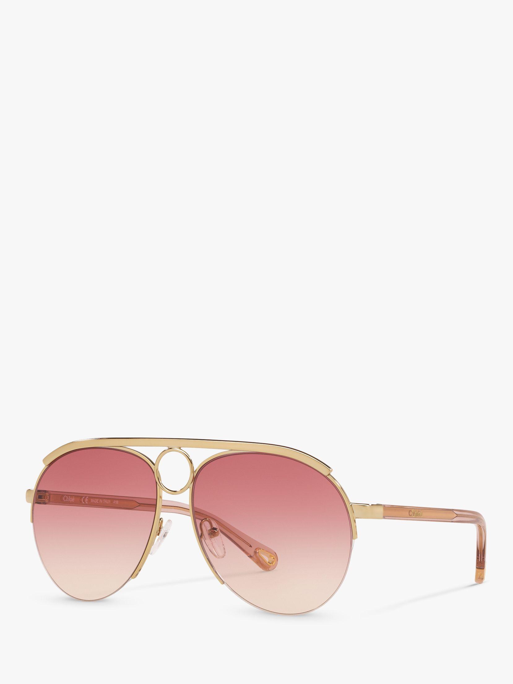 Chloe Chloé CE152S Women's Aviator Sunglasses, Gold/Pink
