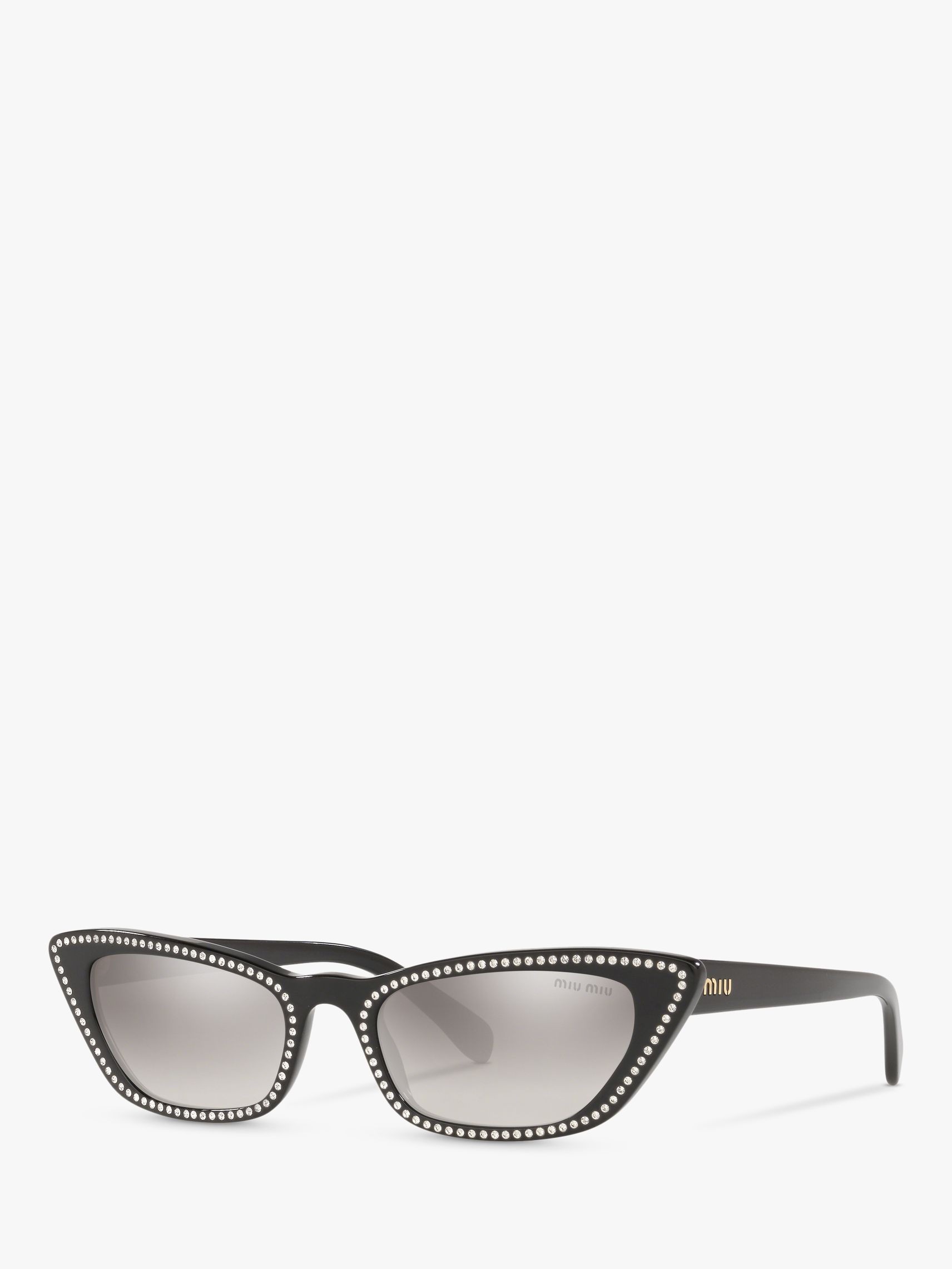 Miu Miu Miu Miu MU 10US Women's Stud Cat's Eye Sunglasses, Black