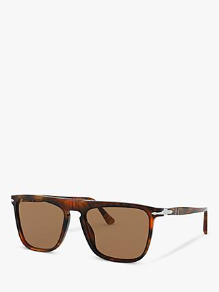 Persol PO3225S Unisex Rectangular Sunglasses, Tortoise/Brown