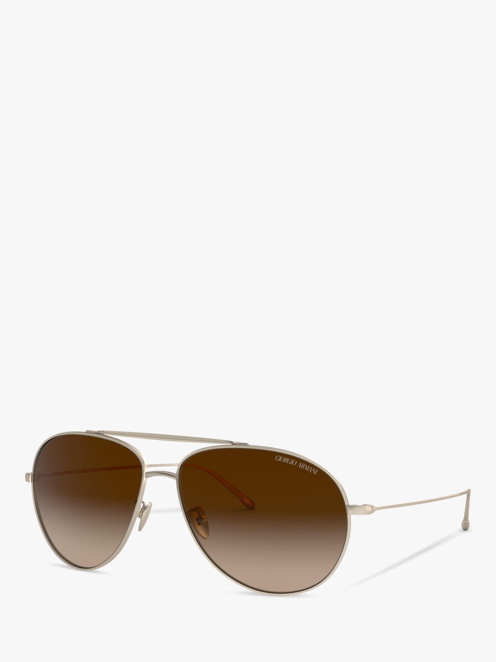 Giorgio Armani Giorgio Armani AR6093 Men's Aviator Sunglasses, Matte Gold/Brown Gradient