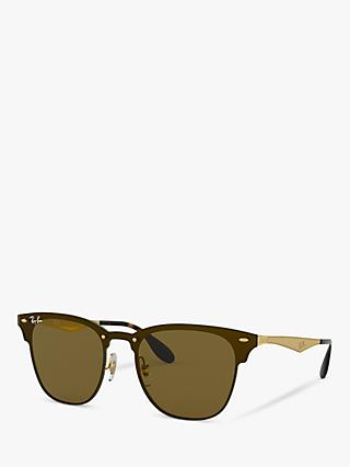 Ray-Ban RB3576N Unisex Blaze Clubmaster Square Sunglasses, Gold/Brown