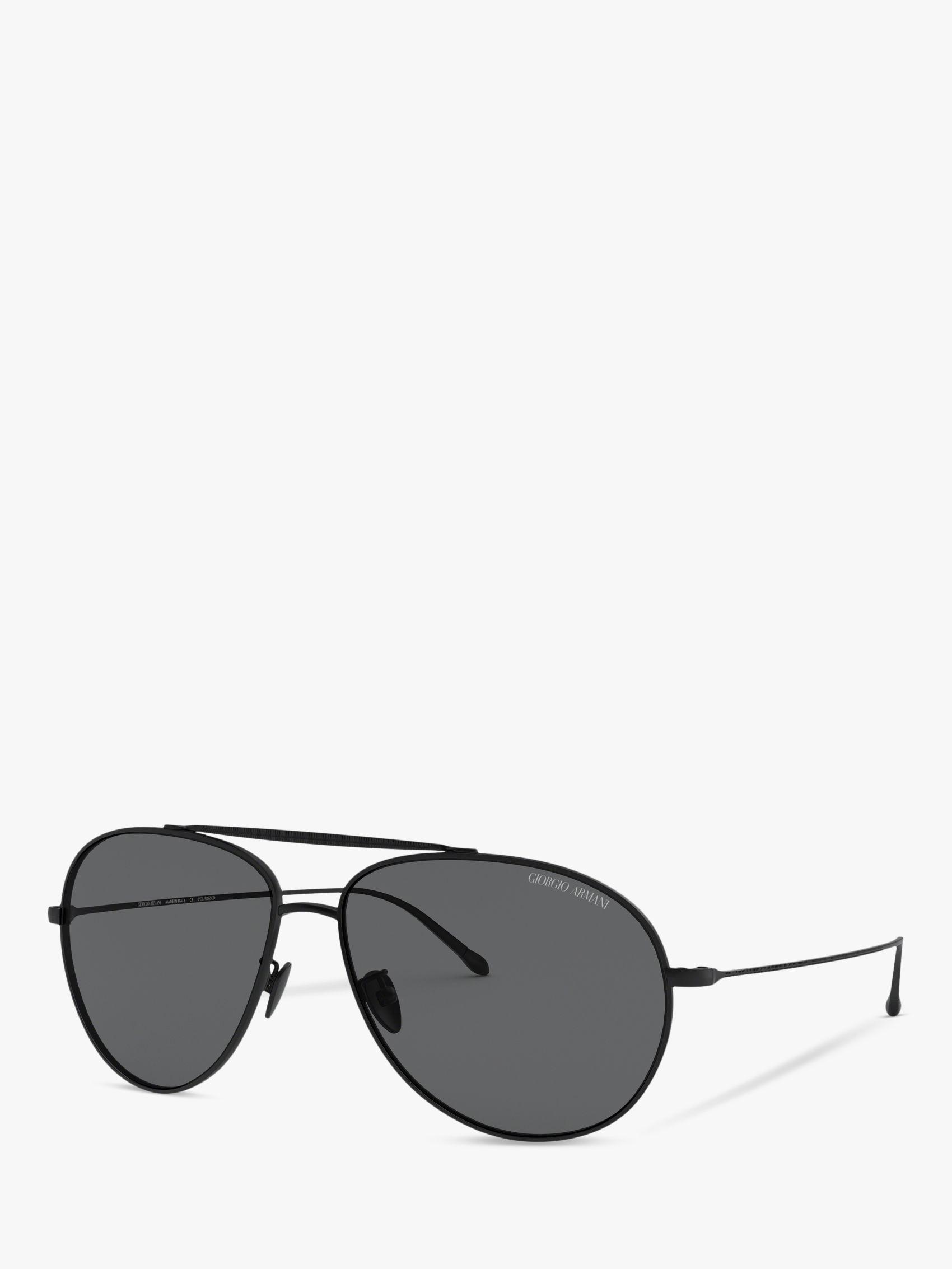 Giorgio Armani Giorgio Armani AR6093 Men's Polarised Aviator Sunglasses, Matte Black/Grey