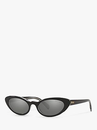 Miu Miu MU 09US Women's Stud Cat's Eye Sunglasses, Black