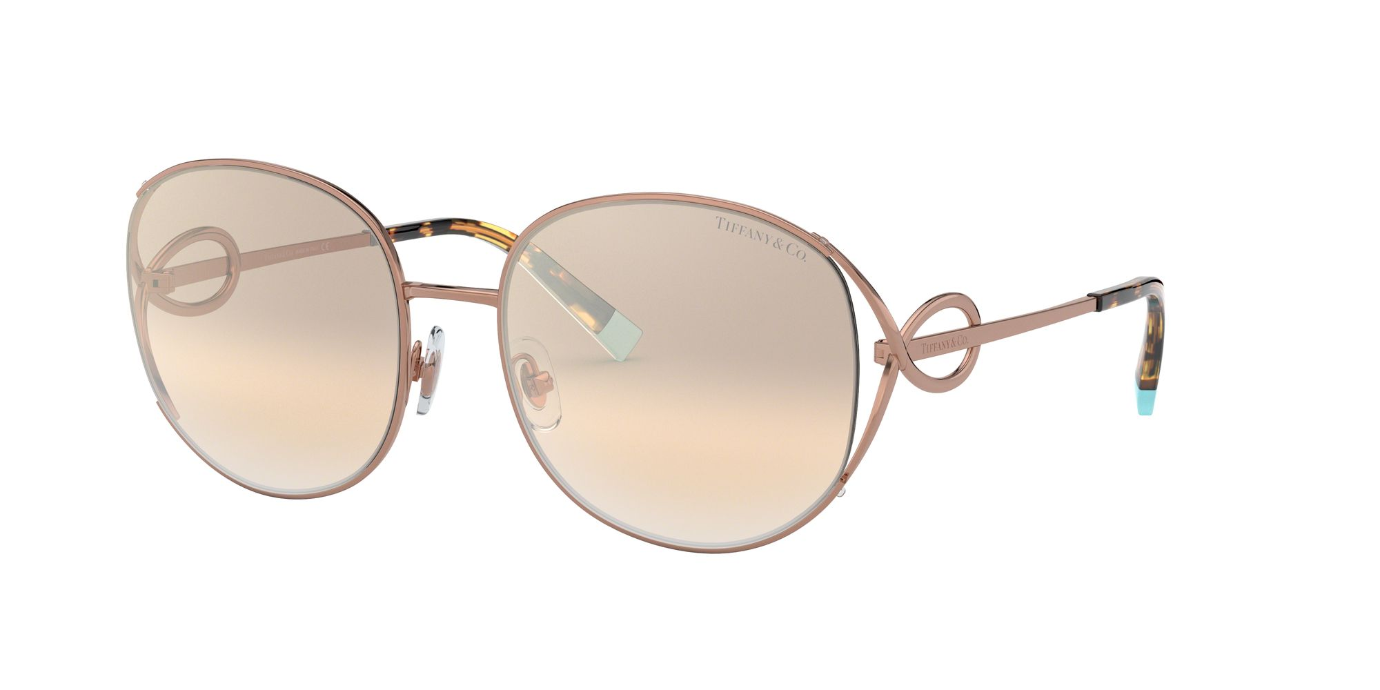 Tiffany & Co Tiffany & Co TF3065 Women's Oval Sunglasses, Dark Rose Gold/Beige Gradient