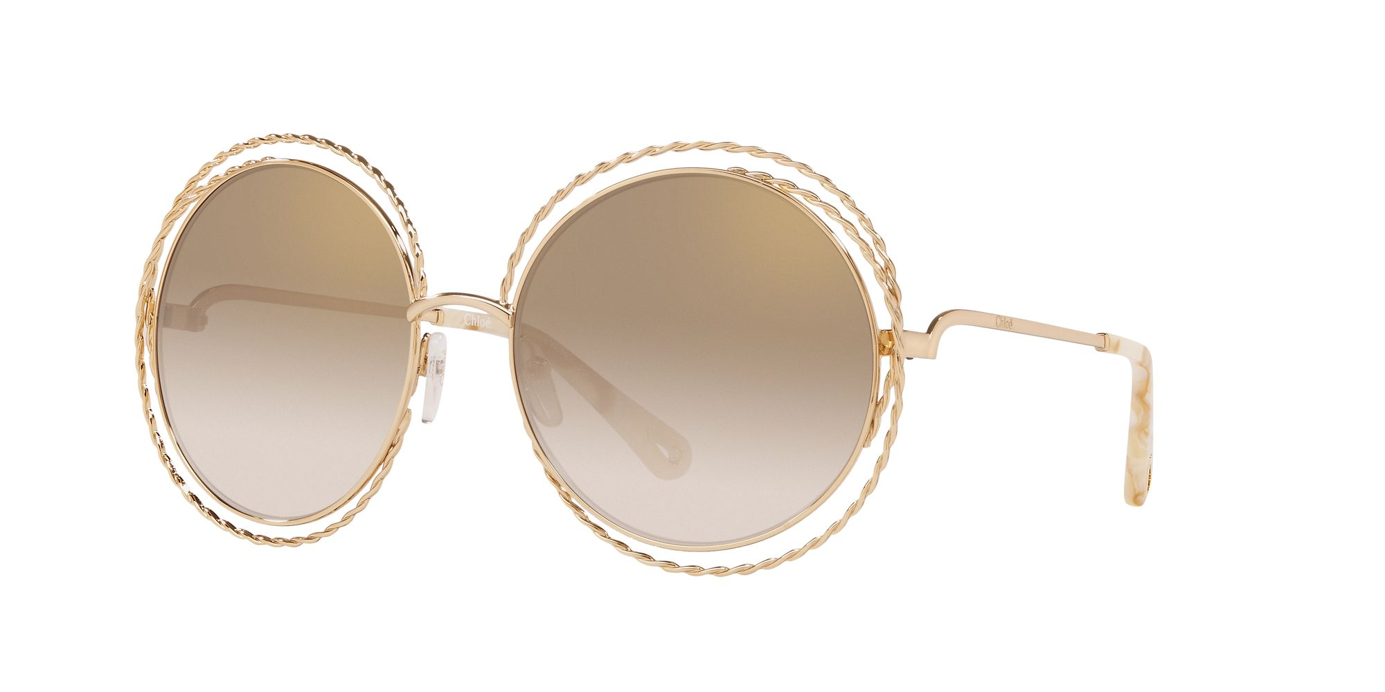 Chloe Chloé CE114ST Women's Round Sunglasses, Gold/Brown