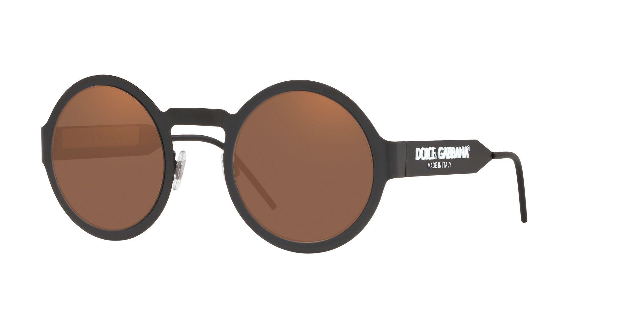 Dolce & Gabbana Dolce & Gabbana DG2234 Women's Round Sunglasses, Black/Brown