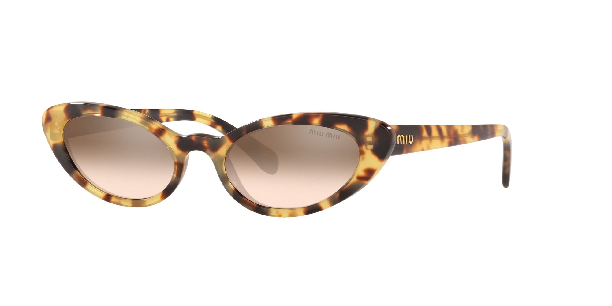 Miu Miu Miu Miu MU 09US Women's Stud Cat's Eye Sunglasses, Light Brown