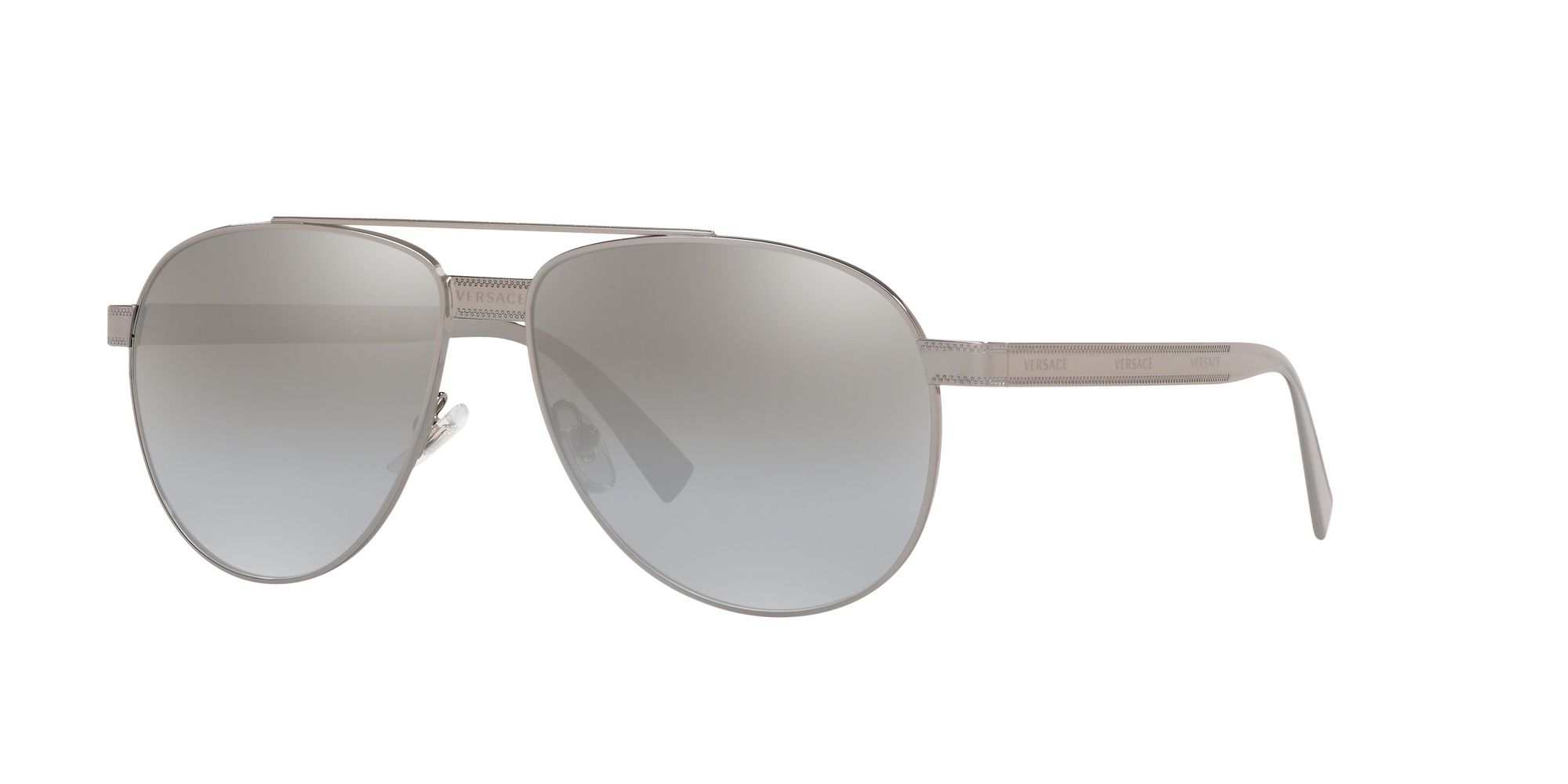 Versace Versace VE2209 Unisex Aviator Sunglasses, Gunmetal/Mirror Grey