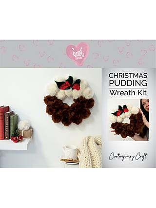 Wool Couture Christmas Pudding Pom Pom Wreath Craft Kit