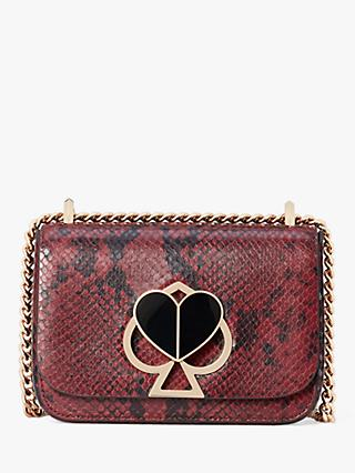 kate spade new york Nicola Leather Chain Twistlock Shoulder Bag, Cherrywood Snake