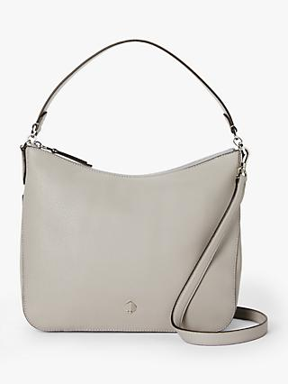 kate spade new york Polly Leather Medium Shoulder Bag, True Taupe