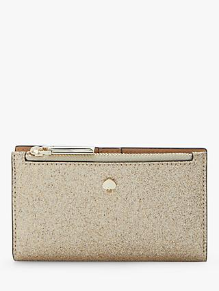 kate spade new york Burgess Court Leather Slim Bi-Fold Purse, Gold