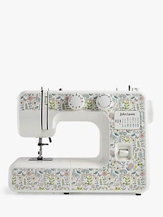 John Lewis & Partners JL111 Floral Print Sewing Machine, White/Multi