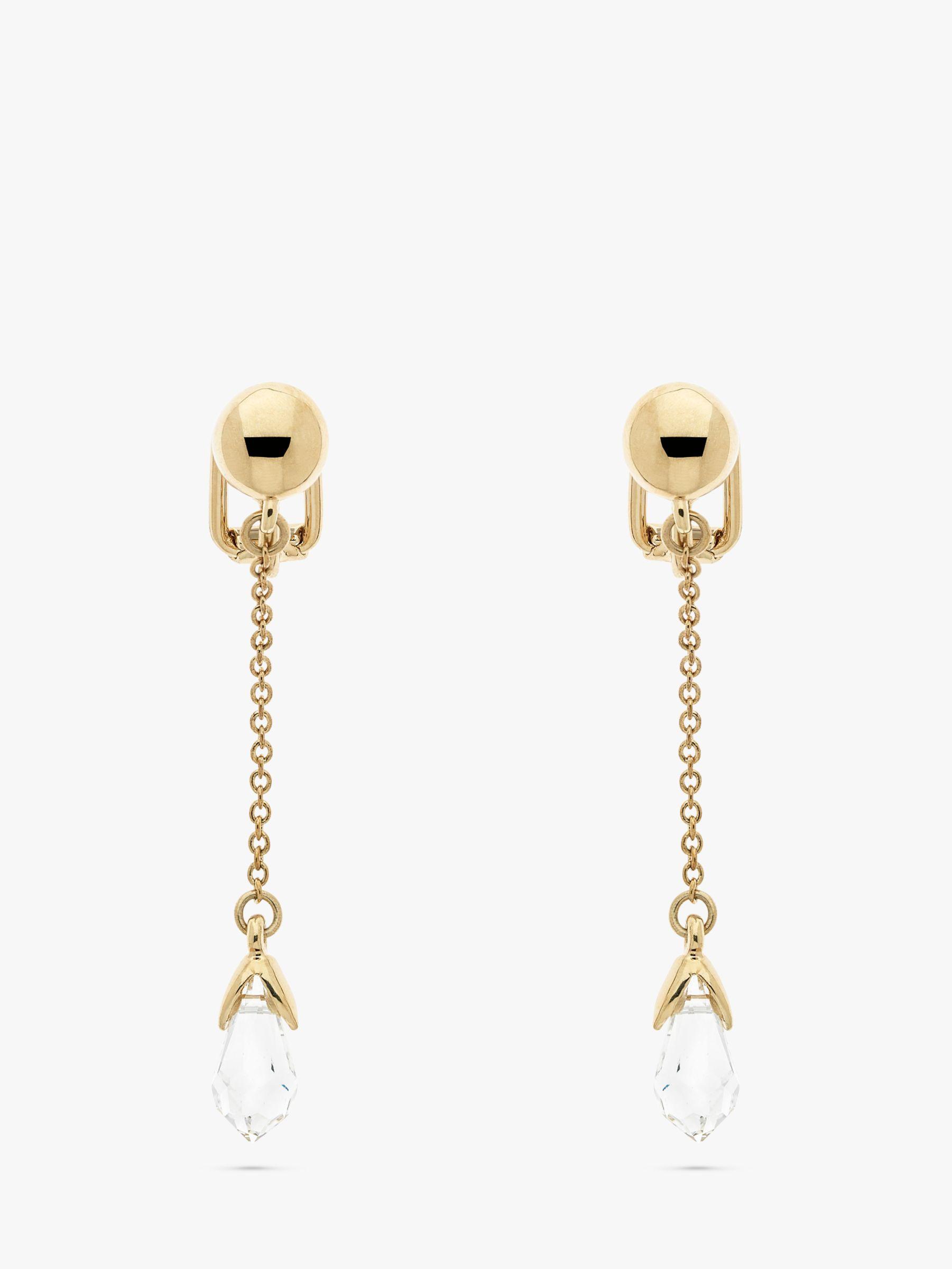Emma Holland Swarovski Crystal Drop Chain Clip On Earrings