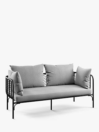 John Lewis & Partners Chevron 3-Seat Garden Sofa, Black/Grey