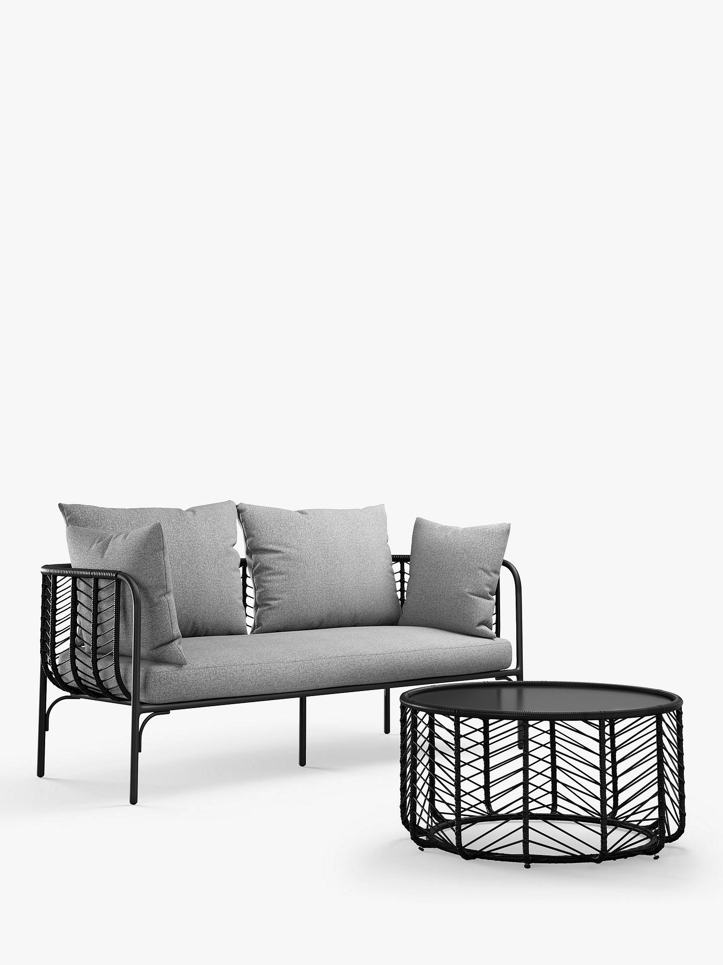 John Lewis & Partners Chevron 8-Seat Garden Sofa, Black/Grey