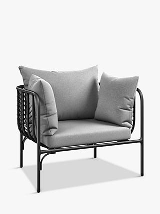 John Lewis & Partners Chevron Garden Lounging Chair, Black/Grey