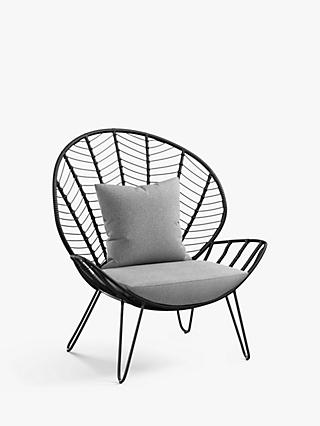 John Lewis & Partners Chevron Statement Garden Chair, Black/Grey