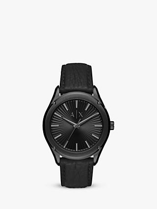 Armani Exchange AX2805 Men's Leather Strap Watch, Black