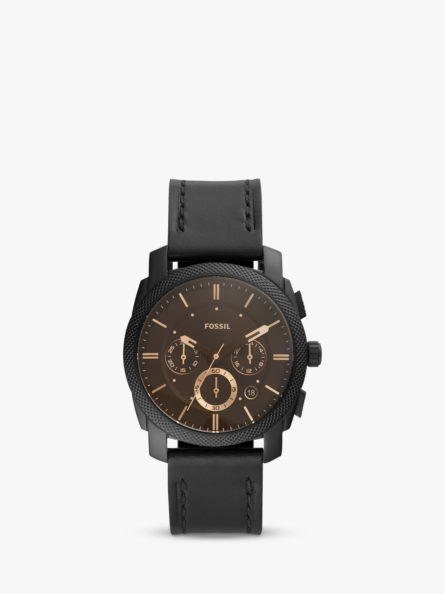 Fossil Fossil FS5586 Men's Machine Chronograph Date Leather Strap Watch, Black/Brown