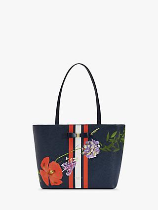Ted Baker Hedgerow Floral Leather Shopper Bag, Blue/Multi