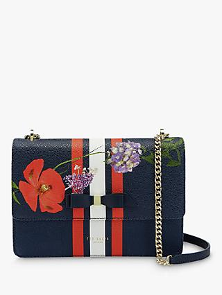 Ted Baker Tracyy Leather Cross Body Bag, Dark Blue