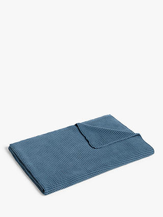 Buy little home at John Lewis Addison Knitted Throw, Blue Online at johnlewis.com