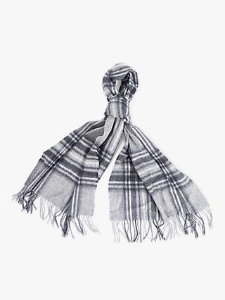 Barbour Lonnen Check Lambswool Wrap Scarf, Monochrome