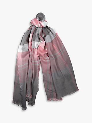 Barbour Glenn Tartan Scarf, Blush/Grey