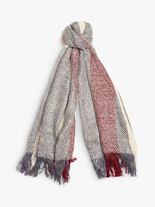 Barbour Munro Colour Block Scarf, Grey/Red