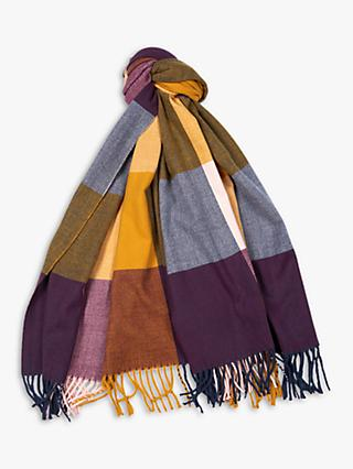 Barbour Pastel Check Colour Block Scarf, Golden Yellow Mix