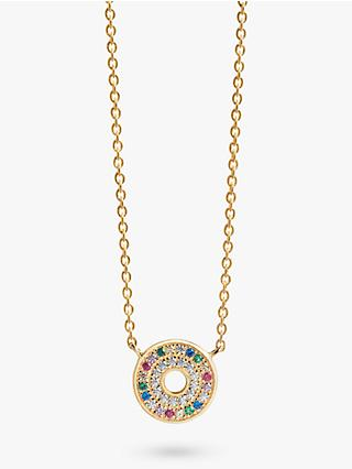 Sif Jakobs Jewellery Cubic Zirconia Round Pendant Necklace, Gold/Multi
